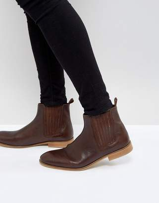 Asos Design Chelsea Boots In Brown Leather with Natural Sole