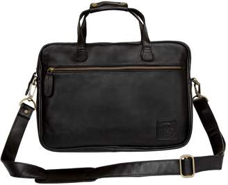 MAHI Leather - Compact Leather Laptop Satchel Bag in Black