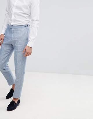 Reiss Slim Suit Pants In Light Blue Linen