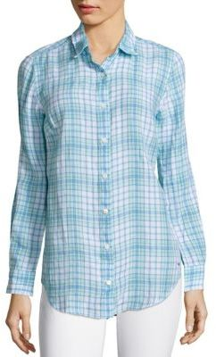 Vineyard Vines Anglers Plaid Linen Button Down Shirt $88 thestylecure.com