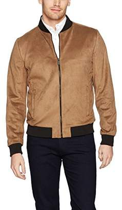 Calvin Klein Men's Suede Bomber with Contrast Zipper