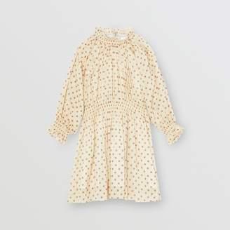 Burberry Childrens Star Print Gathered Cotton Dress