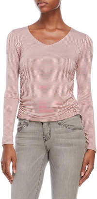 Pink Rose Side Ruched Long Sleeve Tee