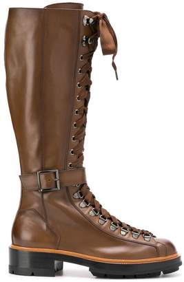 Santoni lace-up high boots