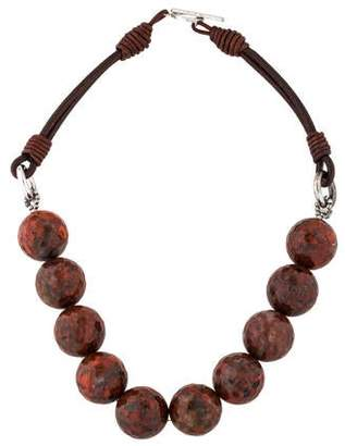 Brunello Cucinelli Jasper & Leather Collar Necklace