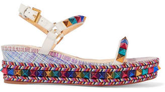 Christian Louboutin Pyraclou 60 Spiked Metallic Textured-leather Wedge Sandals - Pink