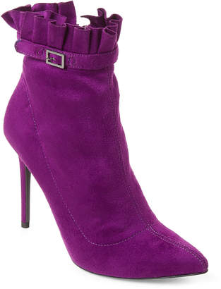 Wild Diva Lounge Purple Giselle Ruffle Ankle Booties