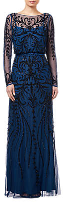 Adrianna Papell Beaded Pattern Long Dress, Deep Blue