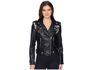 Blank NYC Vegan Leather Jacket with Palm Tree Embroidery in Palm Breeze Women's Coat