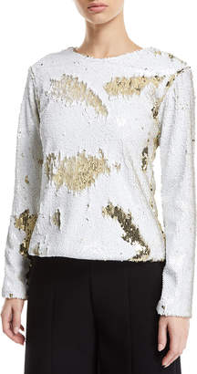 Racil Long-Sleeve Distressed Sequin Top