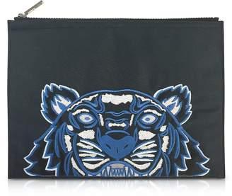 Kenzo Dark Gray Canvas A4 Tiger Clutch