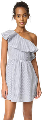 J.O.A. Stripe One Shoulder Dress $90 thestylecure.com
