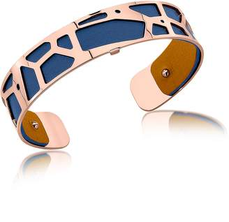BEIGE Les Georgettes Small Giraffe Rose Gold Plated Bracelet w//Navy Blue and Reversible Leather Strap
