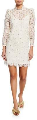Kate Spade Embellished Floral-Lace Mock-Neck Bracelet-Sleeve Mini Dress
