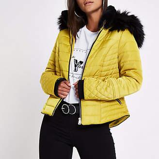 River Island Petite yellow faux fur hood padded coat