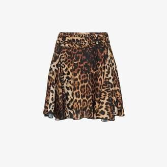 We11done high waisted leopard print mini skirt