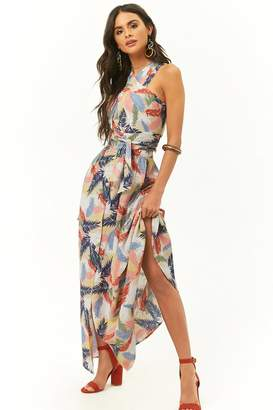 Forever 21 Tropical Palm Print Top & Maxi Skirt Set