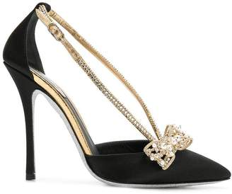 Rene Caovilla bow detail satin pumps
