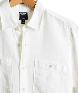 Todd Snyder Slim Fit Linen Two Pocket Shirt in White