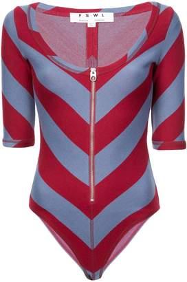 Proenza Schouler PSWL Diagonal Stripe Scoop Bodysuit
