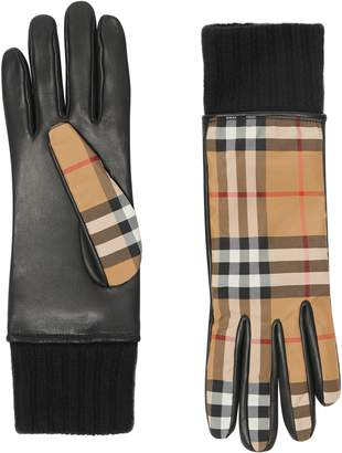 Burberry Cashmere Lined Vintage Check & Leather Gloves