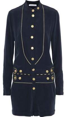 Pierre Balmain Metallic-Trimmed Button-Detailed Washed-Silk Playsuit