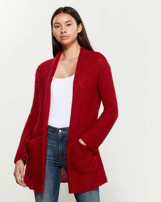 Research Code By Never Enough Ruby Red Aspen Wool-Blend Cardigan