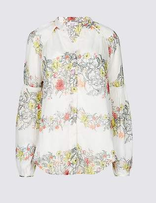 Marks and Spencer Floral Print Notch Neck Long Sleeve Blouse