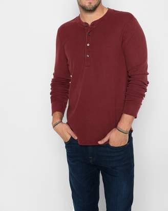7 For All Mankind Long Sleeve Thermal Henley in Port