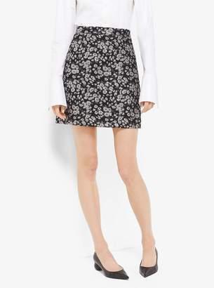Michael Kors Floral Metallic-Embroidered Brocade Skirt