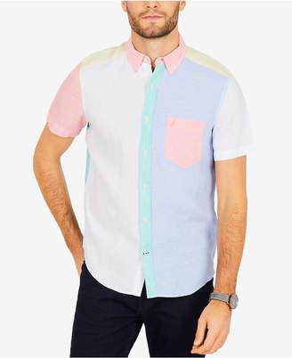 Nautica Men's Pastel Colorblocked Linen Classic Fit Shirt