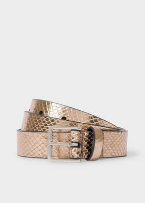 Paul Smith Women's Gold Metallic Snake-Effect Leather Belt