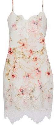 Haute Hippie Lace-Paneled Floral-Print Crepe De Chine Mini Dress