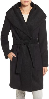 Calvin Klein Bouclé Trim Hooded Wrap Coat $300 thestylecure.com