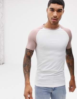 Asos Design DESIGN muscle fit contrast raglan t-shirt in white