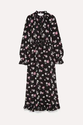 Les Rêveries Tie-front Ruffled Floral-print Silk-crepe Maxi Dress - Black