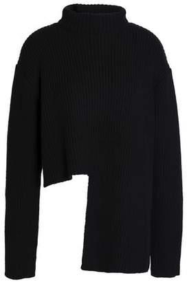 Ellery Asymmetric Ribbed Merino Wool-Blend Turtleneck Sweater
