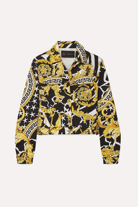 Versace Cropped Printed Denim Jacket - Yellow