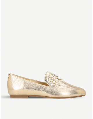 MICHAEL Michael Kors Gia embellished metallic-leather loafers