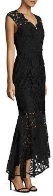 Shoshanna MIDNIGHT Hi-Lo Mermaid Lace Gown $580 thestylecure.com