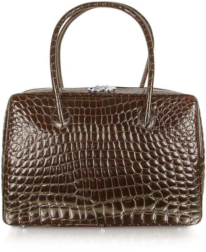 Giorgio Fedon 1919 Spiga - Dark Brown Croco Stamped Calfskin Business Bag