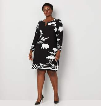 Avenue Border Stripe Floral Sheath Dress