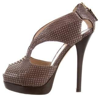 Fendi Embossed Cutout Sandals