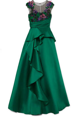 Marchesa Ruffled Mikado And Appliquéd Tulle Gown - Emerald