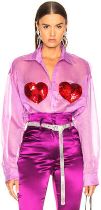 Ashish Classic Sequin Heart Shirt in Orchid & Red | FWRD