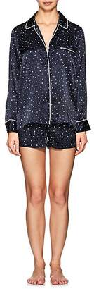 Barneys New York Women's Star-Print Silk Pajama Set - Navy Star