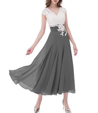 GMAR Women's Chiffon Formal Bridesmaid Gowns Cap Sleeve V-Neck Mother of The Bride Dresses