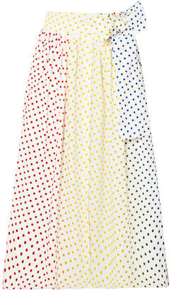 Rosie Assoulin Polka-dot Flocked Cotton-blend Poplin Midi Skirt - White