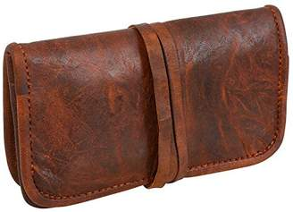 LUST Genuine Leather Stationery Make-Up Wrap Case Pouch Tobacco Battery Headphone Holder Vintage Unisex