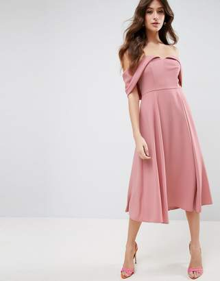 Asos Bardot Fold Over Midi Prom Dress